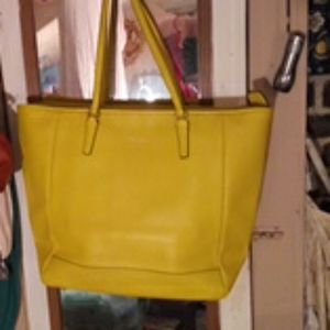 Yellow leather Coach Bag